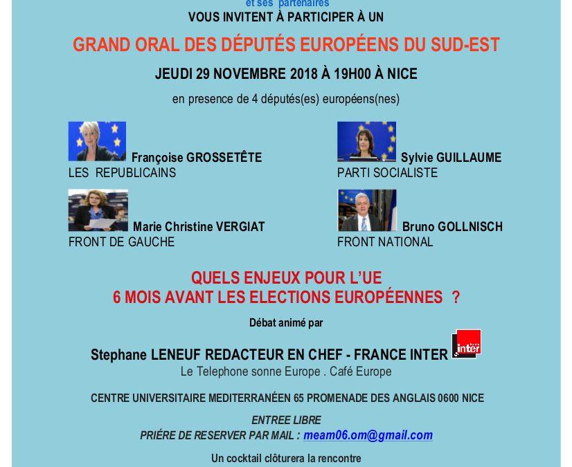 Grand oral des députés européens – Nice