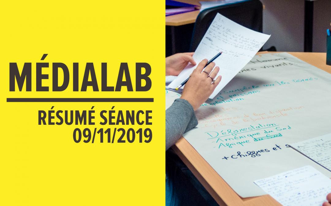[Résumé] Séance MédiaLab – 09 novembre 2019 [FR/ENG]
