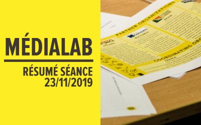 [Résumé] Séance MédiaLab – 23 novembre 2019 [FR/ENG]
